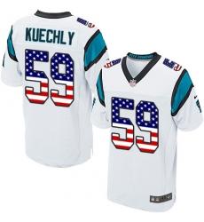 Men's Nike Carolina Panthers #59 Luke Kuechly Elite White Road USA Flag Fashion NFL Jersey