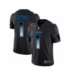 Men Carolina Panthers #1 Cam Newton Black Smoke Fashion Limited Jersey
