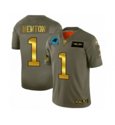 Men's Carolina Panthers #1 Cam Newton Limited Olive Gold 2019 Salute to Service Football Jersey