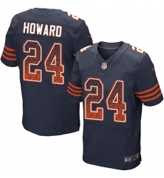 Men's Nike Chicago Bears #24 Jordan Howard Elite Navy Blue Alternate Drift Fashion NFL Jersey