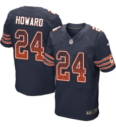 Men's Nike Chicago Bears #24 Jordan Howard Elite Navy Blue Home Drift Fashion NFL Jersey