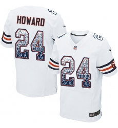 Men's Nike Chicago Bears #24 Jordan Howard Elite White Road Drift Fashion NFL Jersey