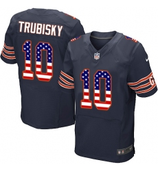 Men's Nike Chicago Bears #10 Mitchell Trubisky Elite Navy Blue Home USA Flag Fashion NFL Jersey