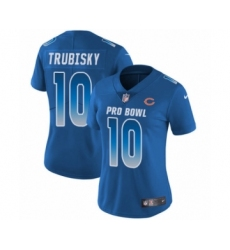 Women's Chicago Bears #10 Mitchell Trubisky Limited Royal Blue NFC 2019 Pro Bowl Football Jersey