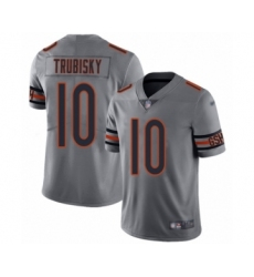 Youth Chicago Bears #10 Mitchell Trubisky Limited Silver Inverted Legend Football Jersey