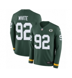 Men's Nike Green Bay Packers #92 Reggie White Limited Green Therma Long Sleeve NFL Jersey