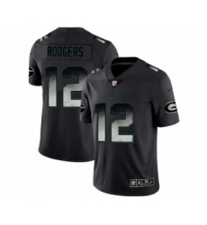 Men Green Bay Packers #12 Aaron Rodgers Black Smoke Fashion Limited Jersey