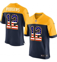 Men's Nike Green Bay Packers #12 Aaron Rodgers Elite Navy Blue Alternate USA Flag Fashion NFL Jersey