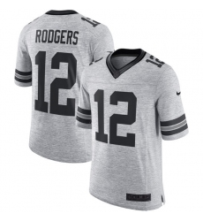 Men's Nike Green Bay Packers #12 Aaron Rodgers Limited Gray Gridiron II NFL Jersey