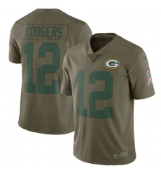 Men's Nike Green Bay Packers #12 Aaron Rodgers Limited Olive 2017 Salute to Service NFL Jersey