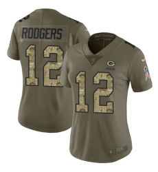 Women's Nike Green Bay Packers #12 Aaron Rodgers Limited Olive/Camo 2017 Salute to Service NFL Jersey