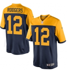 Youth Nike Green Bay Packers #12 Aaron Rodgers Limited Navy Blue Alternate NFL Jersey