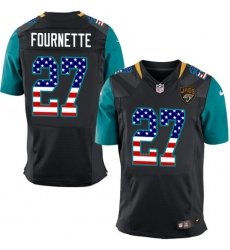 Men's Nike Jacksonville Jaguars #27 Leonard Fournette Elite Black Alternate USA Flag Fashion NFL Jersey