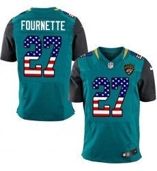 Men's Nike Jacksonville Jaguars #27 Leonard Fournette Elite Teal Green Home USA Flag Fashion NFL Jersey