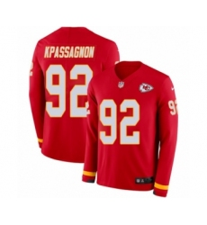 Men's Nike Kansas City Chiefs #92 Tanoh Kpassagnon Limited Red Therma Long Sleeve NFL Jersey